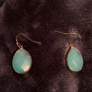 Loft teal green and gold earrings
